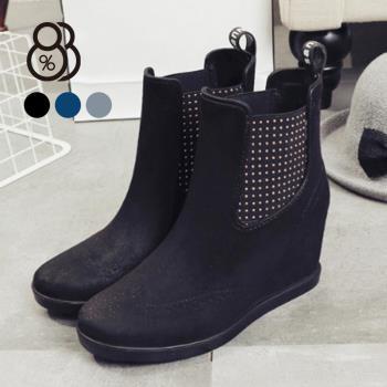 88% 雨鞋女短筒雨靴下雨天時尚成人PVC防水套鞋韓國防滑內增高5CM楔型
