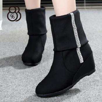 88% 韓版坡跟短靴春秋絨面靴內增高3CM中筒靴長靴兩穿楔型顯瘦顯修長