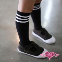 天使霓裳 學院風條紋兒童中筒襪(黑S~L) RW170918