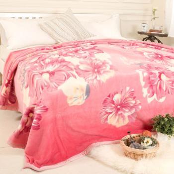 【米夢家居】鳴球100%澳洲美麗諾拉舍爾羊毛毯-粉頰扶桑