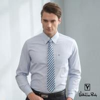 Valentino Rudy范倫鐵諾.路迪-長袖襯衫-深淺藍白直條(暗釘釦)
