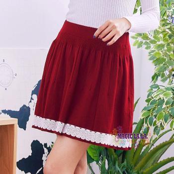 【魔法拉拉】花編裙襬針織俏麗短裙A517(自信紅)