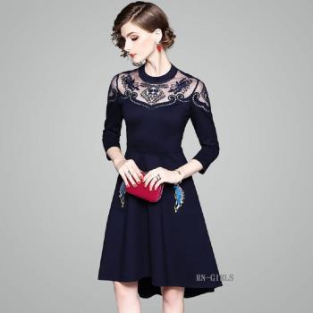(現貨+預購 RN-girls)-【OL80027】極美精品網紗繡花燕尾裙襬長袖洋裝小禮服