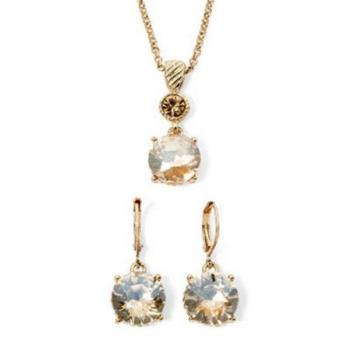 【Love 21】Monet2018時尚香檳色單顆水晶耳環項鍊套組(預購)