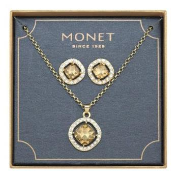 【Love 21】Monet2018媚力香檳白色水晶耳環項鍊套組(預購)