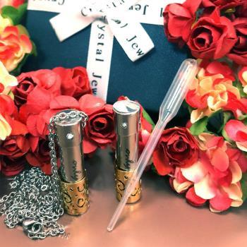 鈦鋼花形鏤空精油瓶項鍊