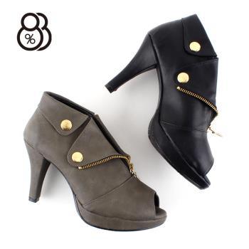 88% MIT台灣製秋冬短靴9CM高跟魚口防水台踝靴韓版女靴拉鍊裝飾是設計