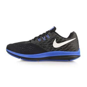 NIKE ZOOM WINFLO 4 男氣墊慢跑鞋-訓練 路跑 黑藍