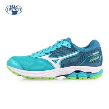 MIZUNO WAVE RIDER 21 女慢跑鞋-WIDE-寬楦 路跑 美津濃 湖水綠