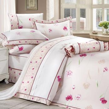 Ally 雙人七件式豐璽映花-米精梳棉床罩組