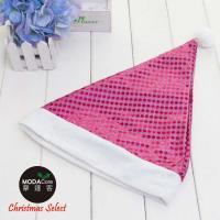 【摩達客】耶誕派對-夢幻粉紅亮片聖誕帽