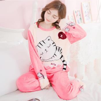 lingling日系 撞色Q版貓咪水貂絨長袖二件式睡衣組(共二色)全尺碼