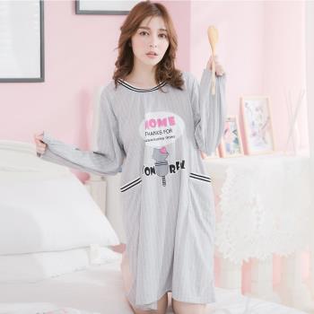 lingling日系 貓咪英字條紋棉質長袖連身裙睡衣(共二色)全尺碼