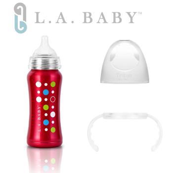 (美國L.A. BABY) 學習杯套組-超輕量醫療級316不鏽鋼保溫奶瓶 9oz(6色)+Tritan學習握把  (玫瑰紅)