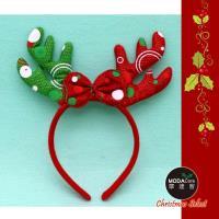 【摩達客】紅綠蝴蝶結時尚鹿角髮箍
