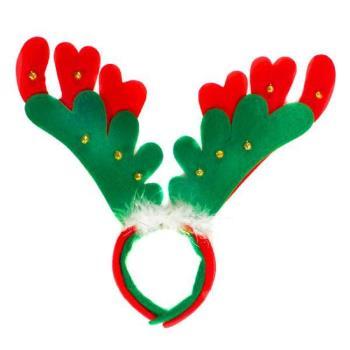 【摩達客】聖誕派對-聖誕大紅綠雙層鹿角髮箍頭飾(可分開當兩入用)