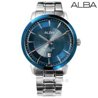 ALBA / VJ42-X237B.AS9E91X1 / 放射錶盤藍寶石水晶玻璃日期防水不鏽鋼手錶 深藍色 44mm