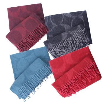 【COACH】經典滿版大C LOGO義大利製喀什米爾羊毛保暖圍巾/披肩(四色任選)