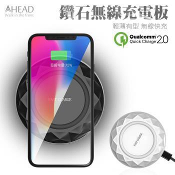 超薄 鑽石無線充電板 QI無線快充 QC2.0快速充電 充電器 充電座