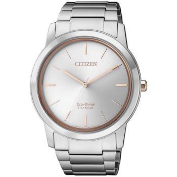 【CITIZEN 星辰】PAIR對錶系列 Eco-Drive 簡約紳士品味光動能鈦金屬腕錶-銀x玫瑰金/41mm(AW2024-81A)
