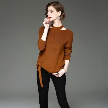 伊凡莎名媛時尚-歐潮設計款繫帶針織衫5838S