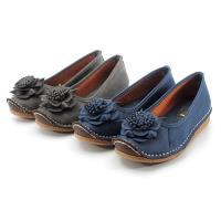 cher美鞋 MIT柔軟手縫花朵平底鞋-藍色/灰色-068128152-04