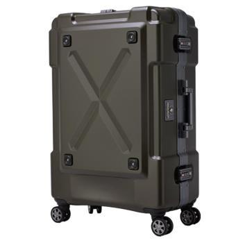 日本 LEGEND WALKER 6302-62-25吋 鋁框密碼鎖輕量行李箱 消光棕