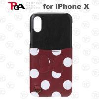 (日本 PGA-iJacket)iPhone X迪士尼皮革口袋造型硬式背蓋-米妮