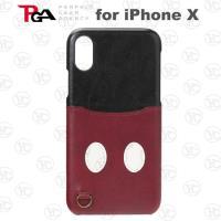 (日本 PGA-iJacket)iPhone X迪士尼皮革口袋造型硬式背蓋-米奇