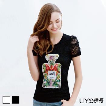 【LIYO理優】上衣公主袖蕾絲印花T恤622025