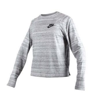 NIKE 女子針織長袖上衣-T恤 長T 慢跑 路跑 健身 瑜珈 灰黑
