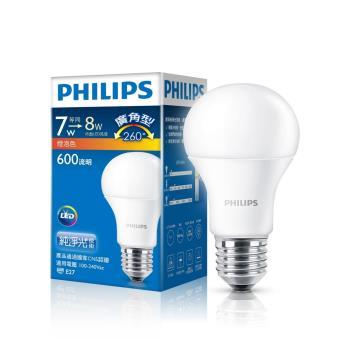 PHILIPS飛利浦 LED球型 7W 廣角LED燈泡E27 白光/黃光 全電壓(12入組)