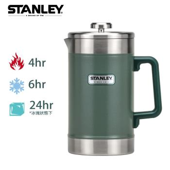 【美國Stanley】巨無霸保溫咖啡茶葉壓濾壺1.4L-錘紋綠