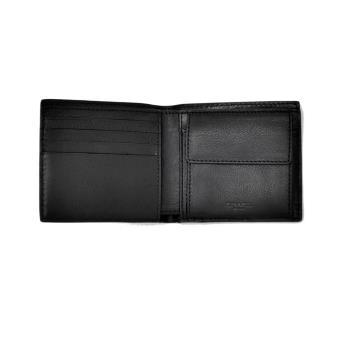 COACH 75005黑皮LOGO壓印四卡層零錢袋男短夾