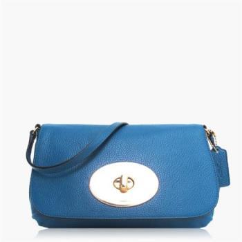 COACH 輕便小包 卵石皮革 / 側背 / 斜背包(專櫃小款)_藍色