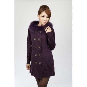 黛莉克絲時尚率性狐狸毛領長大衣