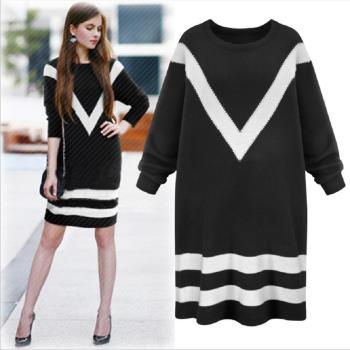 RN-girls-個性休閒黑白拼接色長袖長毛衣長袖洋裝