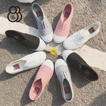 88%輕便小白鞋百搭多色學生韓版平底懶人鞋休閒鞋帆布鞋