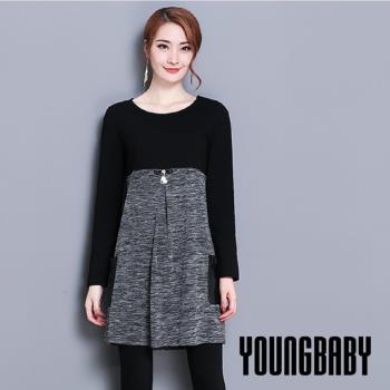 【YOUNGBABY中大碼】黑深灰撞色蝴蝶結口袋洋裝