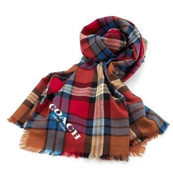COACH 馬車LOGO格紋 羊毛披肩/圍巾