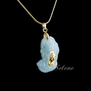 【selene珠寶】富貴如意玉鑲金貔貅項鍊(A貨翡翠)