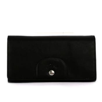 LONGCHAMP 小羊皮對折長夾(黑色) 3146737001