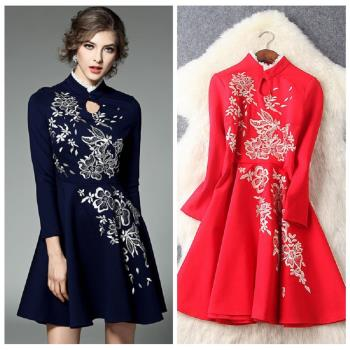 (現貨+預購 RN-girls)-【LYT6342】極美精品蕾絲邊領口刺繡長袖洋裝小禮服