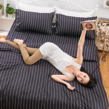 eyah宜雅 全程台灣製100%頂級精梳棉雙人床包枕套三件組-紳士禮儀成就不凡的人