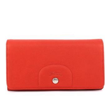 LONGCHAMP 小羊皮對折長夾(磚紅色) 3146737A29