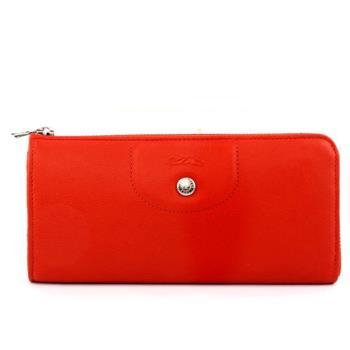 LONGCHAMP 小羊皮L型長夾(磚紅色) 3418737A29