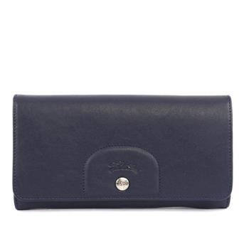 LONGCHAMP 小羊皮對折長夾(海軍藍) 3146737556