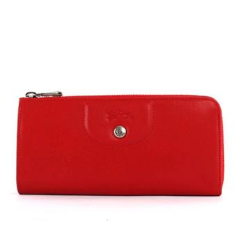 LONGCHAMP 小羊皮L型長夾(紅色) 3418737045