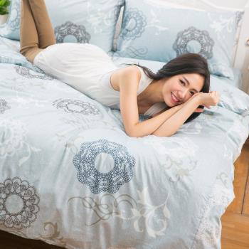 eyah宜雅 全程台灣製100%頂級精梳棉雙人加大床包枕套三件組-希爾德斯海姆的銀色耶誕