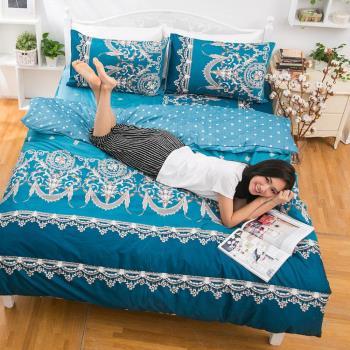 eyah宜雅 全程台灣製100%頂級精梳棉新式兩用被雙人床包被套五件組-法國洛可可的浪漫-藍